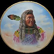 "Limoges H.P. 14"" Native American Plaque ""Flathead Chief Louison"""