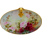 """Sherratt's Studio H.P. 10 ½"""" Oval Handled Tray with Red & Pink Roses"""