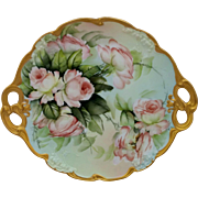 "Limoges H.P. Ester Miler 11 ¾"" Cake Plate with Peach/Pink Roses- signed ""E. Miler"""