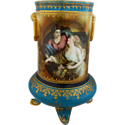 """R.S. Prussia """"Peace Bringing Plenty"""" Footed Vase with Teal"""