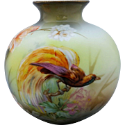 R.S. Poland Bird of Paradise Vase with Tropical Floral Decor