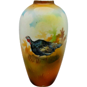 "R.S. Prussia 4 ¼"" Turkey Vase with Brown Tones"