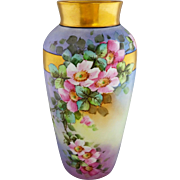 "Elsie Bieg H.P. 11 ¾"" Vase with Wild Pink Roses- signed ""E.W. Bieg"""