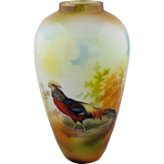 """R.S. Prussia 5 ¼"""" Golden Pheasant Vase with Brown Tones"""