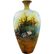 "R.S. Prussia 8 ½"" Ducks and Peacock Vase with Brown Tones"