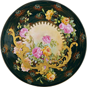 """Limoges 9 ½"""" Cake Plate with Roses- Dark Emerald Trim and Lotus Decor"""