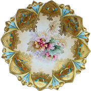 R.S. Prussia Sawtooth Mold Three Footed Bowl with Encrusted Gold and Roses
