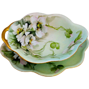 """Ester Miler H.P. Mayonnaise Set with White Roses- signed """"E. Miler"""""""