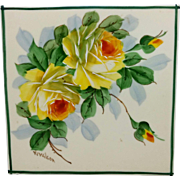 """Walter Wilson H.P. Tea Tile with Yellow Roses- signed """"W. Wilson"""""""
