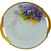 "Hand Painted 10 ¼"" Violets Open Handled Cake Plate"
