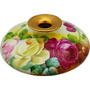 Limoges H.P. Squat Vase with Red, Pink and Yellow Roses