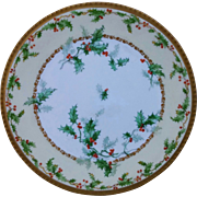 """Limoges 8 ½"""" Cake Plate with Holly and Berry Decor"""