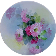 """Ida Ferris Limoges H.P. 8 ½"""" Pink and Magenta Floral Cake Plate- signed """"FERRIS"""""""