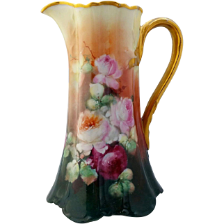"Limoges H.P. Naturalistic Red, Pink & White Roses Tankard- artist signed ""WORTH"""