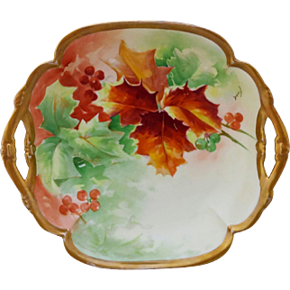 "Limoges H.P. 9 ¾""  Autumn and Berry Decor Open Handled Bowl- artist signed ""Duval"""