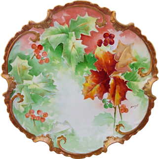 "Limoges H.P. 11 ½""  Autumn and Berry Decor Charger- artist signed ""Duval"""