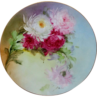 "Beatrice Carlsson H.P. 9"" Cake Plate with Chrysanthemums- artist signed ""Carlsson"""