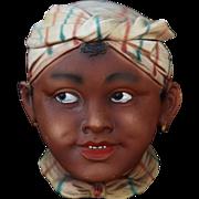 Bisque Black Americana Tobacco Jar- Young Girl w/Turban & Scarf