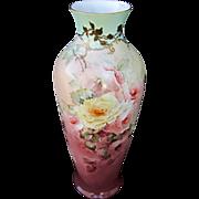 """Hand Painted 17 ¼"""" Roses Vase w/Light Aqua Trim"""