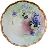 "Pickard H.P. 8 ½"" plate w/Violets- signed ""H.R."""