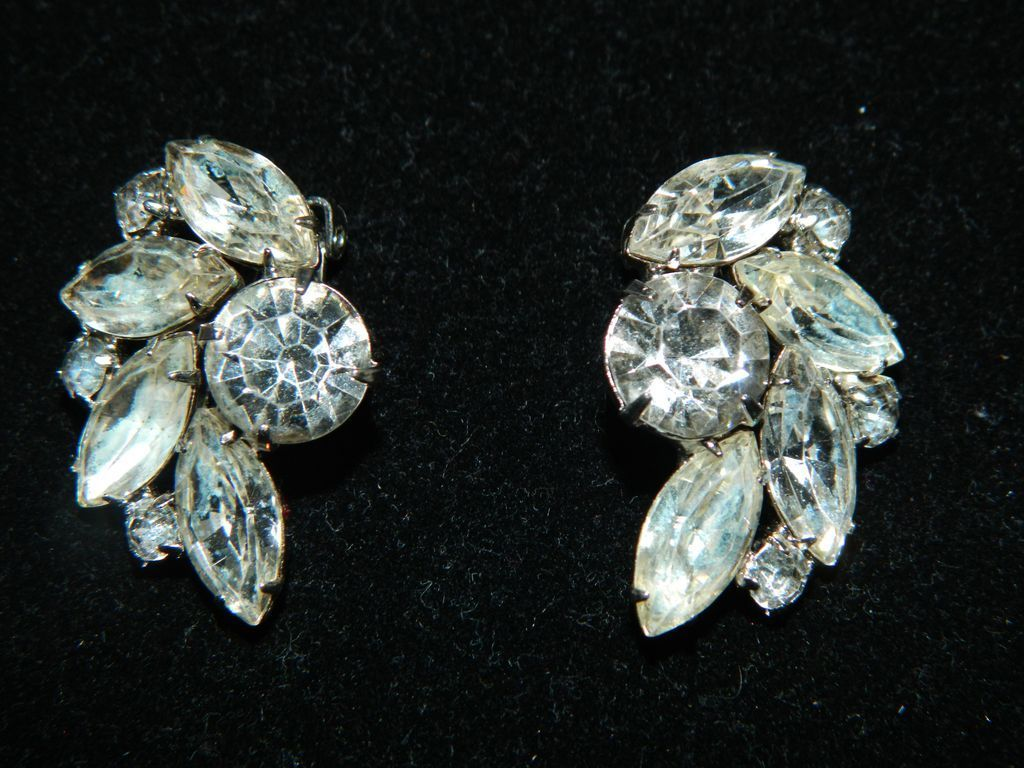 Vintage Signed Garne Clear Rhinestone Earrings The Ont Owl Ruby Lane