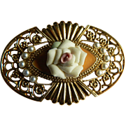 Vintage Gold Tone Brooch with Porcelain Rose
