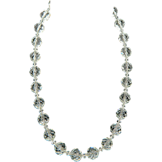 Gorgeous Multi-Faceted Glass Bead Necklace on Sterling Chain