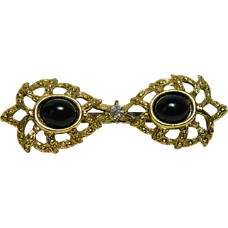 Simulated Double Simulated Onyx Cabochon Brooch