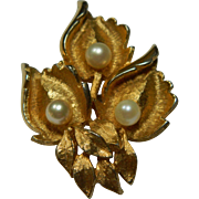 CHAREL Goldtone and Faux Pearl Leaf Brooch