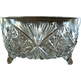 American Brilliant Cut Glass Footed Centerpiece Bowl