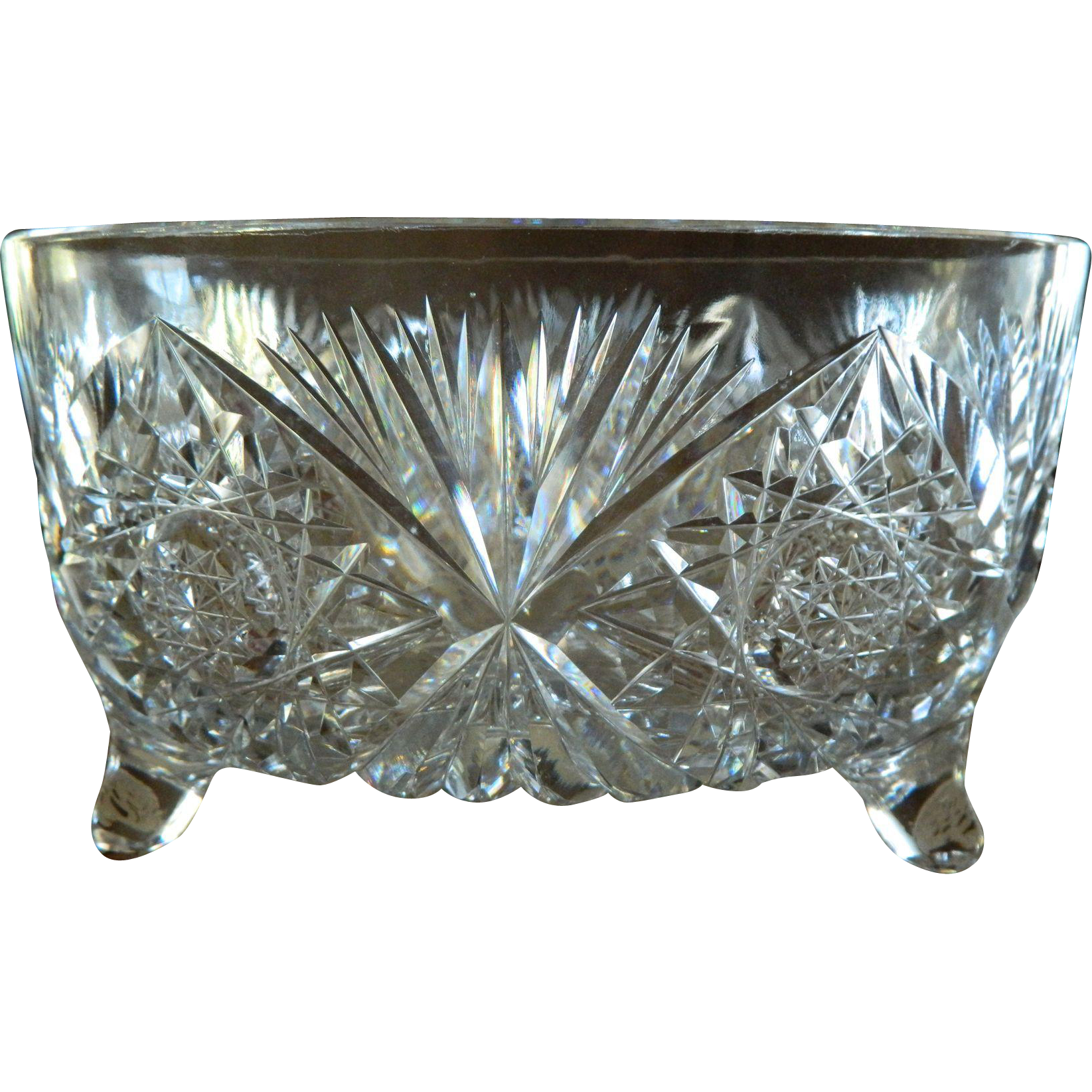 American brilliant cut glass footed centerpiece bowl from theopulentowl on ruby lane - Footed bowl centerpiece ...