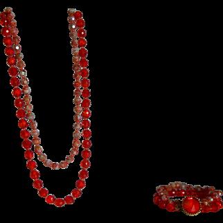 Gorgeous Hattie Carnegie Orange Glass Bead Necklace and Bracelet