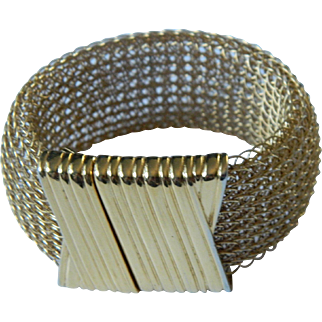 Monet Gold Tone Mesh Bracelet