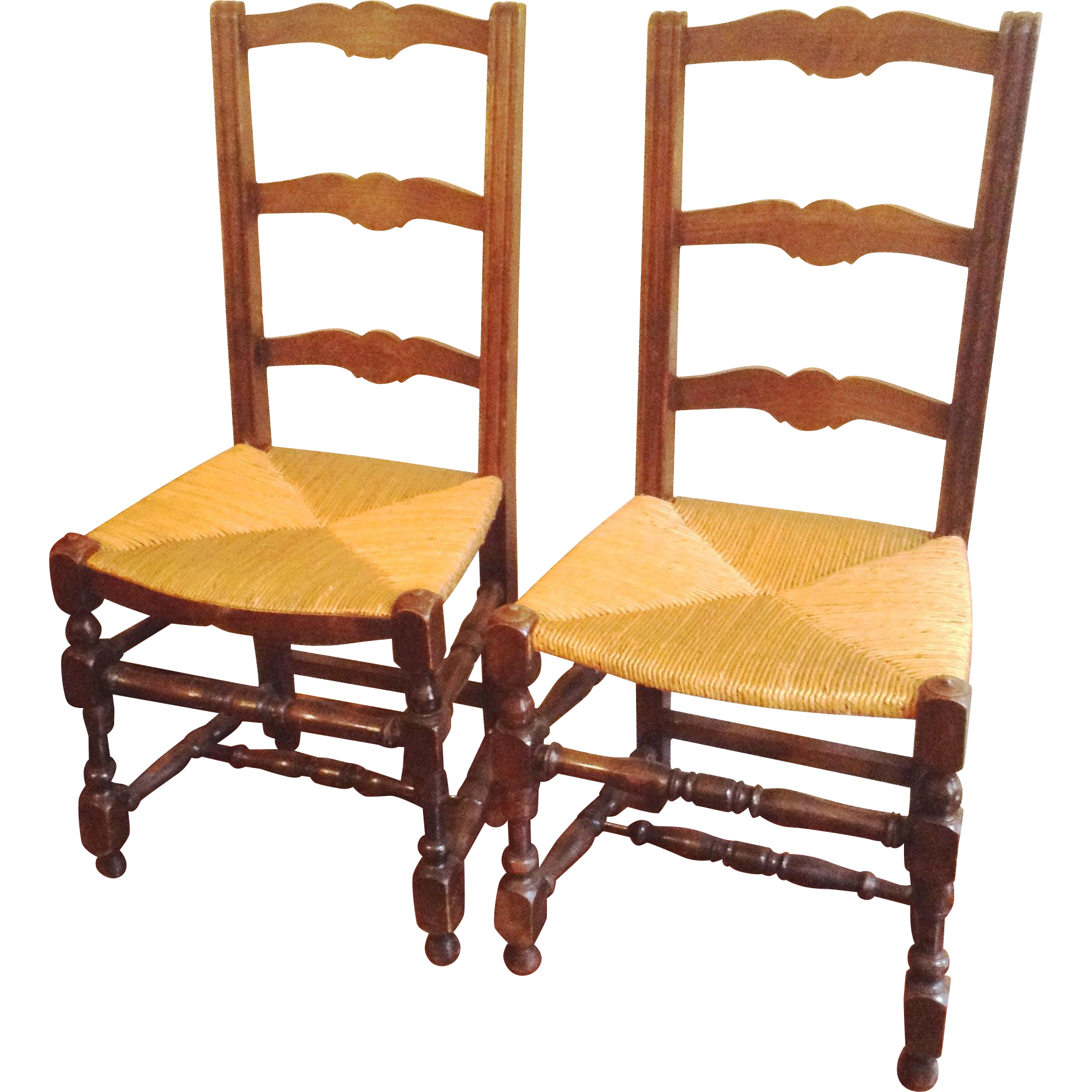 2 Ladderback Chairs Rush Seats France C 1910 : Maison Décor   French  Antiques | Ruby Lane