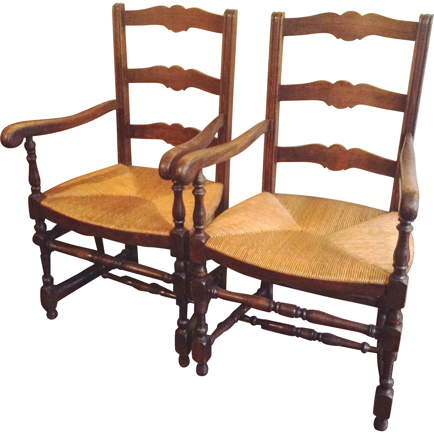 High Quality Pair Antique French Ladderback Arm Chairs With Rush Seats