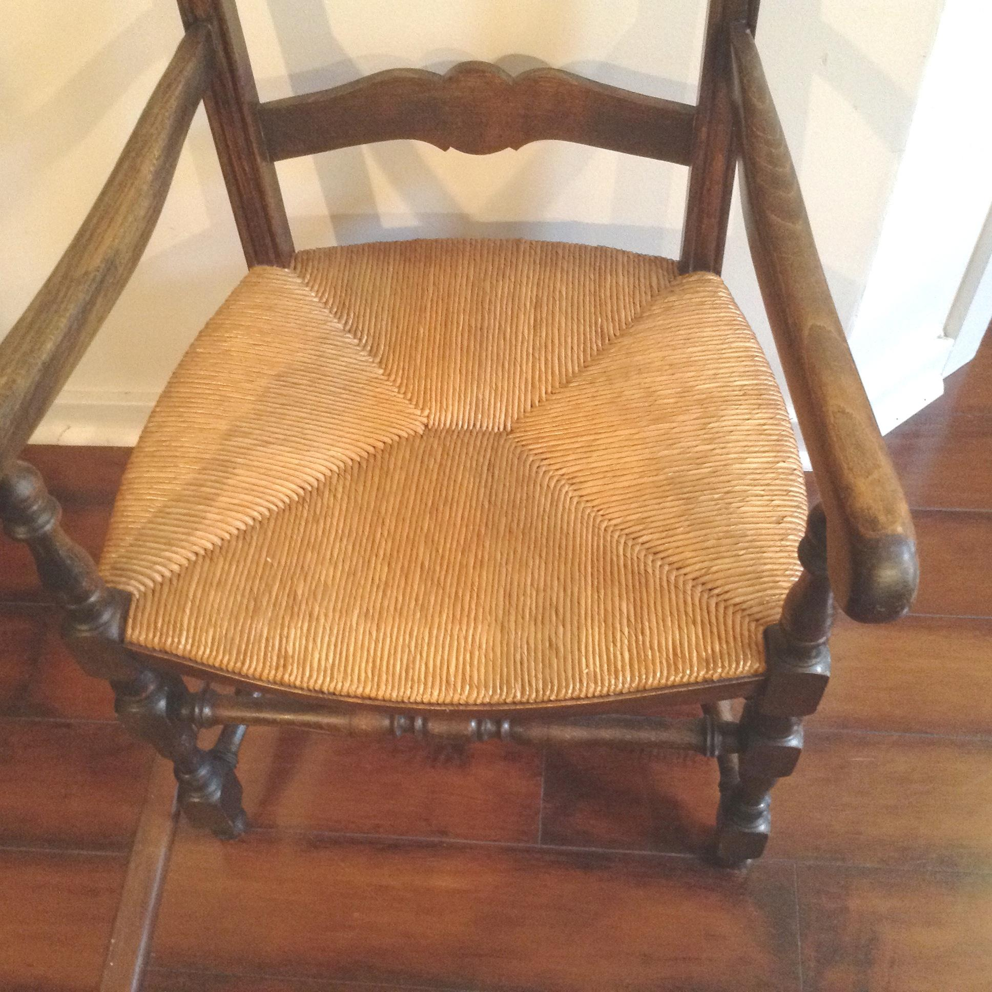 Pair Antique French Ladderback Arm Chairs with Rush Seats from
