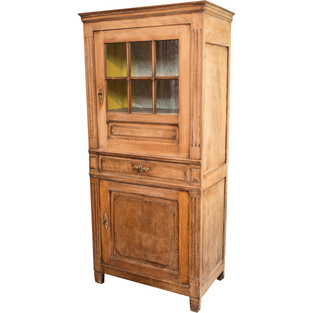 Belgian Bleached Oak Cabinet With Original Glass Front