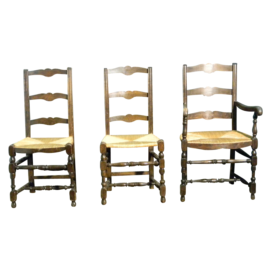 Attractive 4 French Antique Ladder Back Dining Chairs With Rush Seats