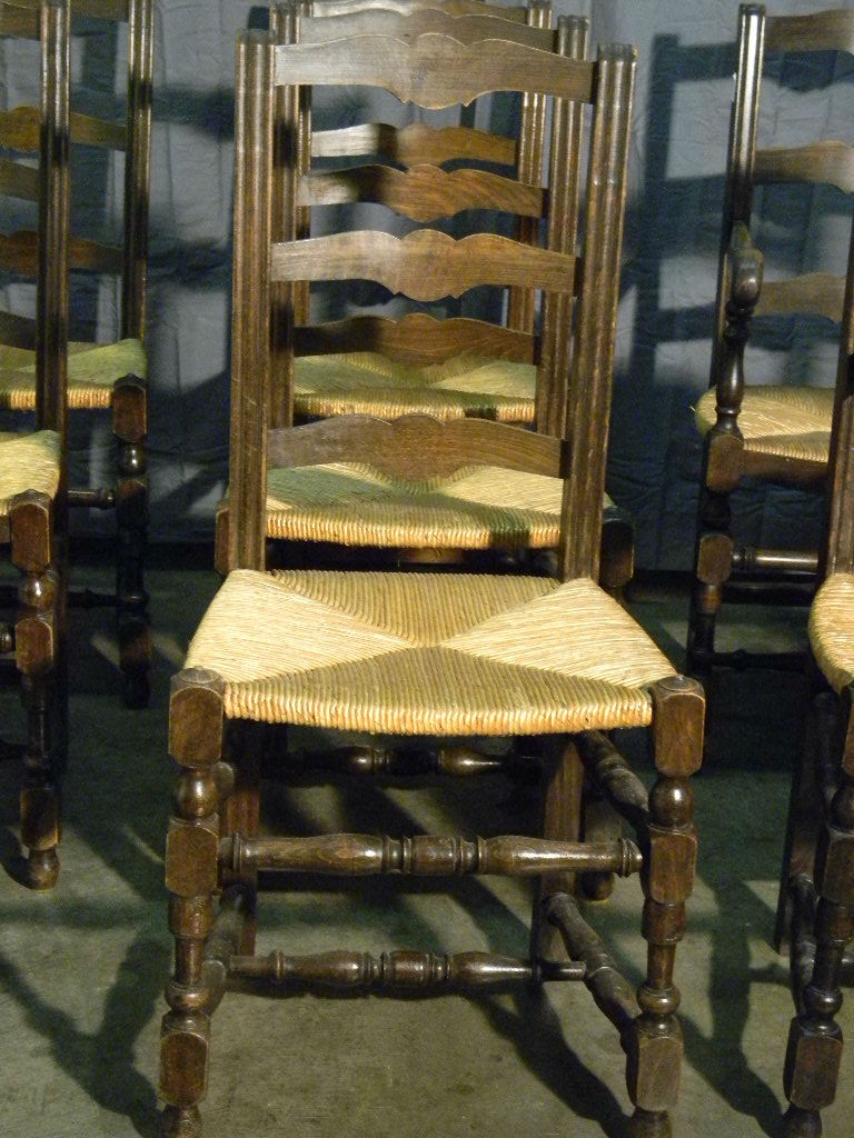 Roll over Large image to magnify, click Large image to zoom - 4 French Antique Ladder Back Dining Chairs With Rush Seats From
