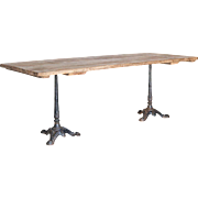 Bistro Dining Table Washed Oak Iron Legs Paris