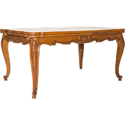 Louis XV Walnut Parquet Table Cabriole Legs Shell Motif