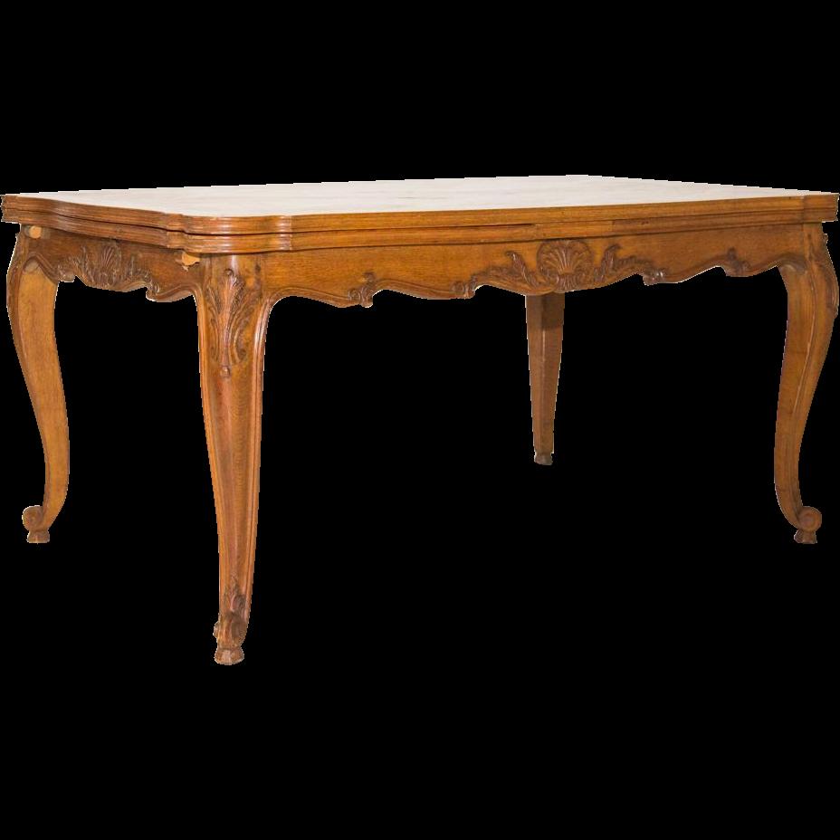 Louis XV Walnut Parquet Table Cabriole Legs Shell Motif