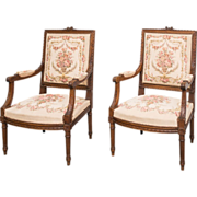2 19th century  Louis XVI  Tapestry Chairs France C. 1880