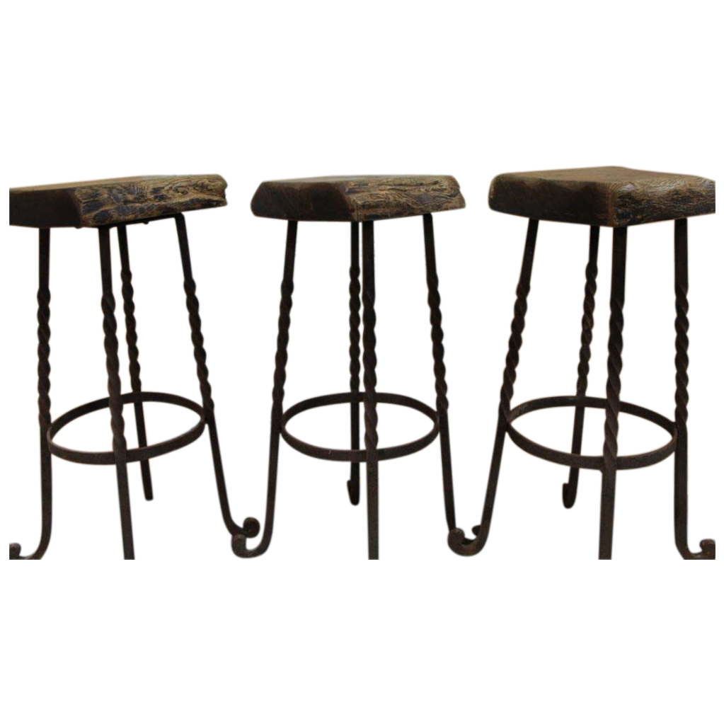 Industrial Bar Stools Iron Legs Reclaimed Wood Belgium  : 202301L from www.rubylane.com size 1023 x 1023 png 460kB