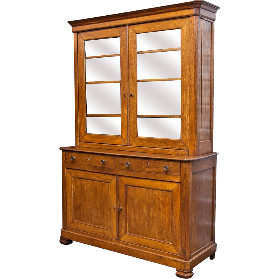 louis philippe style vaisselier hutch quarter sawn oak. Black Bedroom Furniture Sets. Home Design Ideas