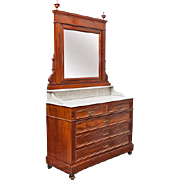 Mahogany Veneer Dresser Carrara Marble Mirror  3 drawers