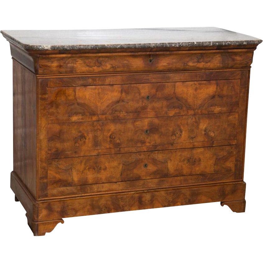 louis philippe commode 4 drawer mahogany marble top france. Black Bedroom Furniture Sets. Home Design Ideas