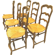 French Antique rush seat chairs