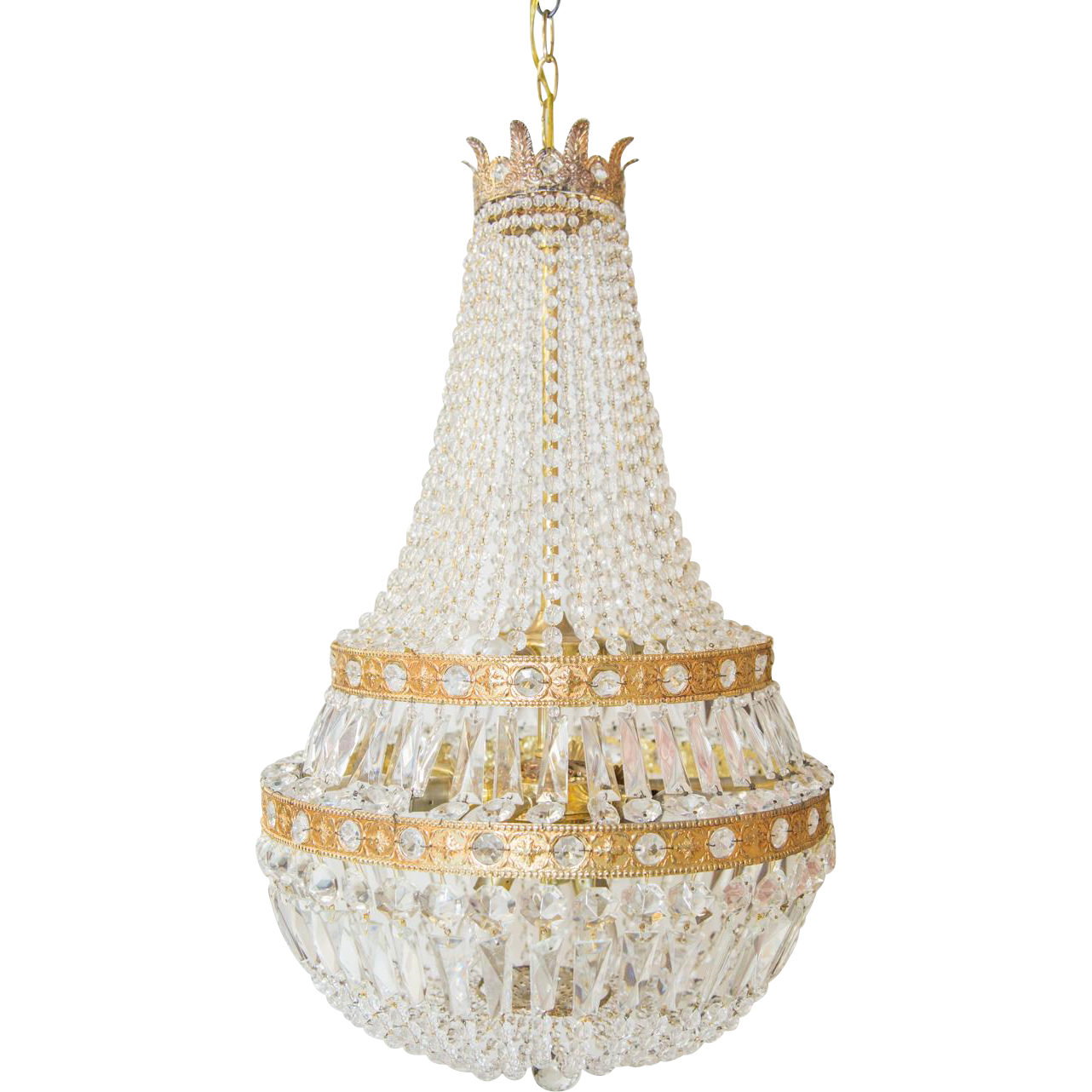 French Empire Style Crystal Chandelier Sack of Pearls C 1900 from ...