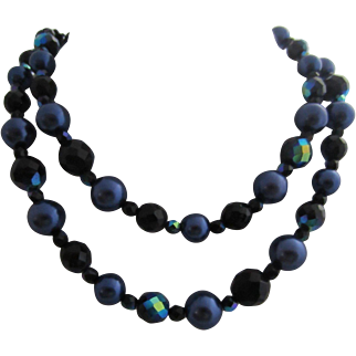 M&S Dramatic Royal Blue AB French Jet Beads and Deep Purple Faux Pearls Long Necklace, c. 1950's